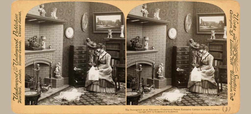 Занятная рекурсия: на стереоскопической карточке изображена женщина со стереоскопом